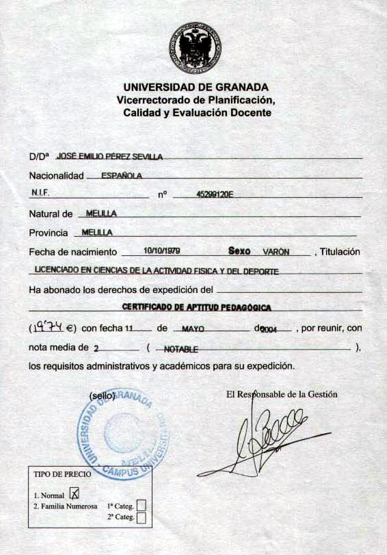 Certificado Aptitud Certificado de Aptitud